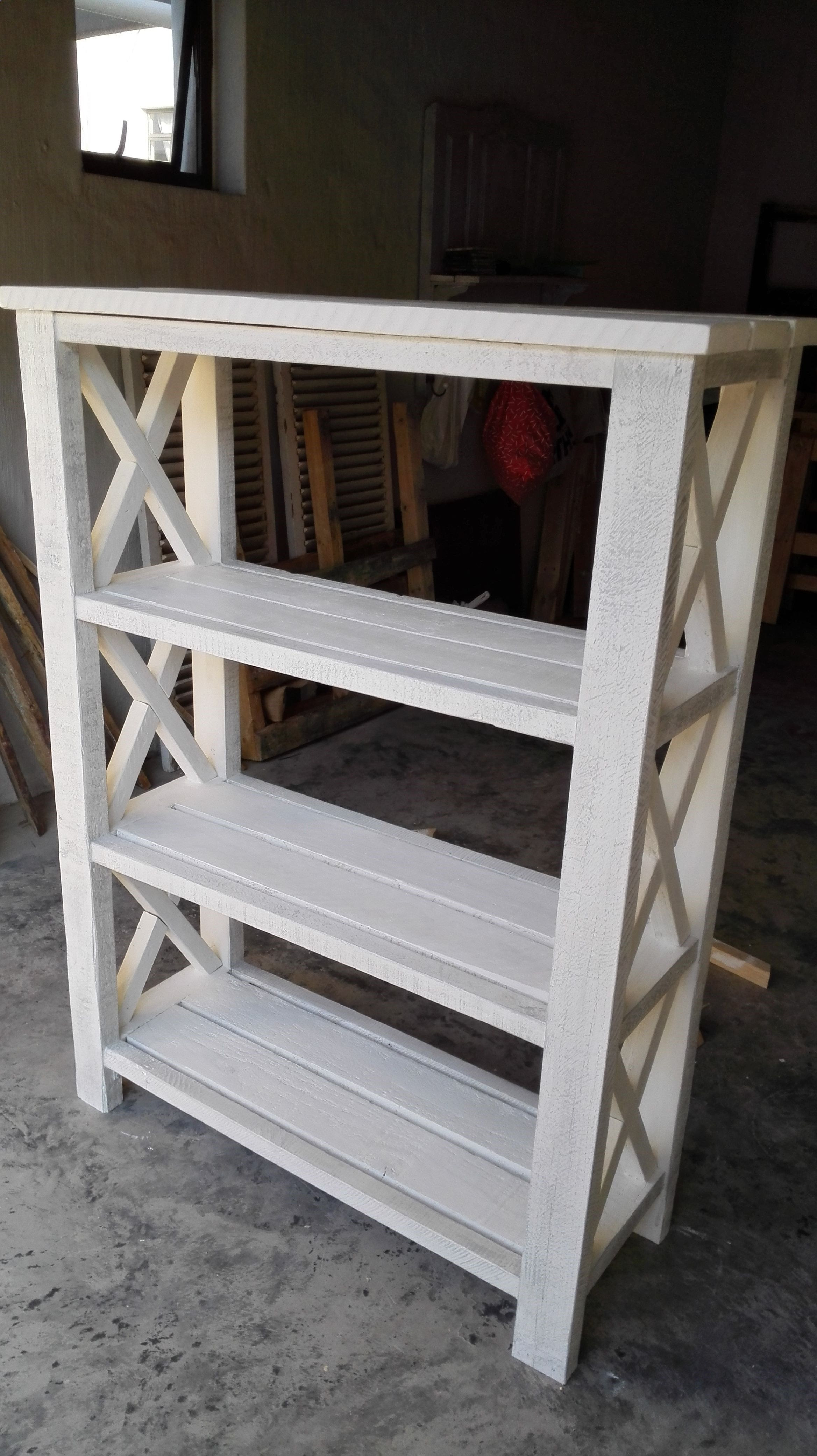Plans Of Woodworking Diy Projects  Rustic X Bookshelf -