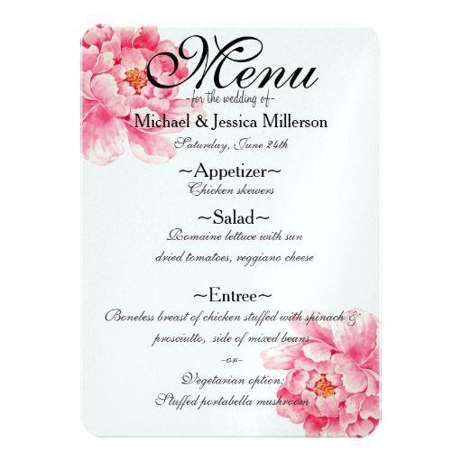ピンクのシャクヤクの花の結婚式メニュー