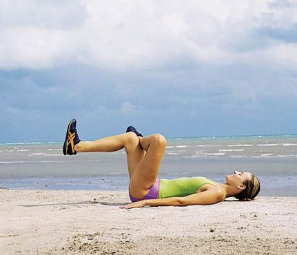 Yoga Poses for Runners: Reclining Pigeon. For this stretch, lie on your back with your knees bent, and cross your left ankle over your right quad. Gently pull your legs toward you for a stretch in your left glute and hamstring. #SelfMagazine
