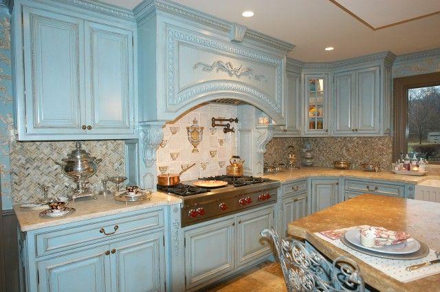 french blue kitchen cabinets | Blue kitchens, Blue kitchen ...