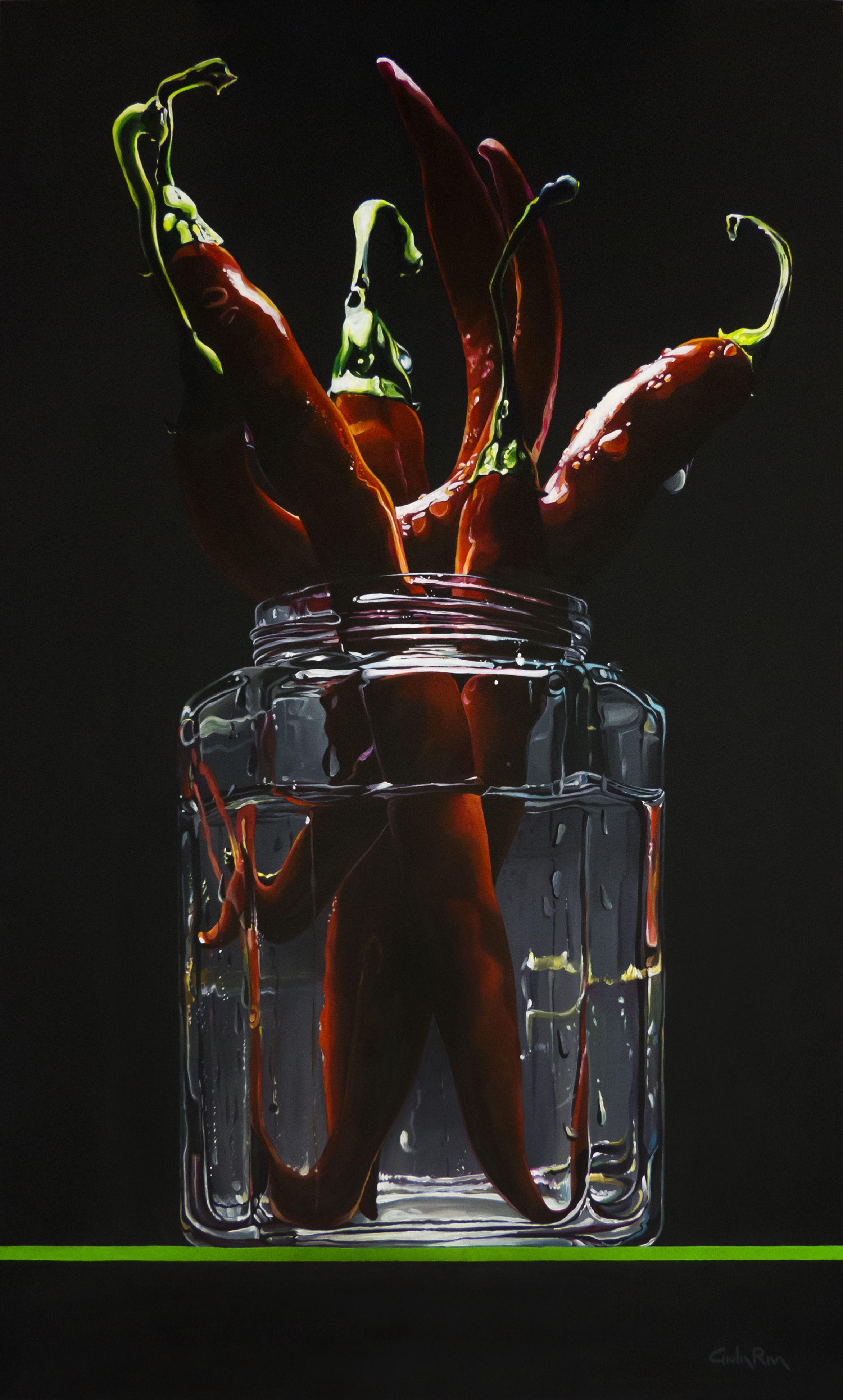 """Il caldo e il freddo"" - ""Hot and cold"" acrilico su tela 60x100 cm - acrilic on canvas 23,4X39"" © Giulia Riva Art #stilllife #redpeppers #red #black #redpepper #hot  #glass #shadows #light #summer #water #paint #realism  #giuliariva #giuliarivaart #acrilicpaint © Giulia Riva Art  Follow me on Instagram: http://instagram.com/giuliariva_art"