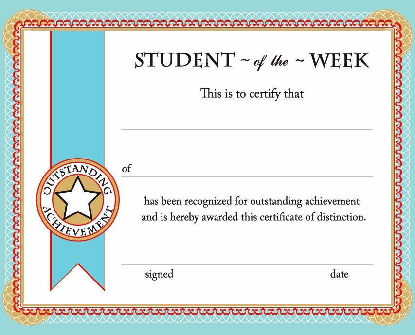 Free printable student of the week certificate back to for Student of the year award certificate templates