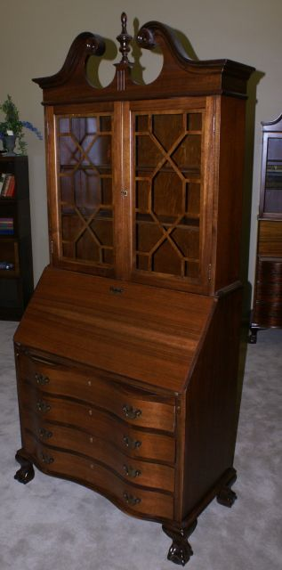Chippendale Mahogany Secretary Desk With Hutch