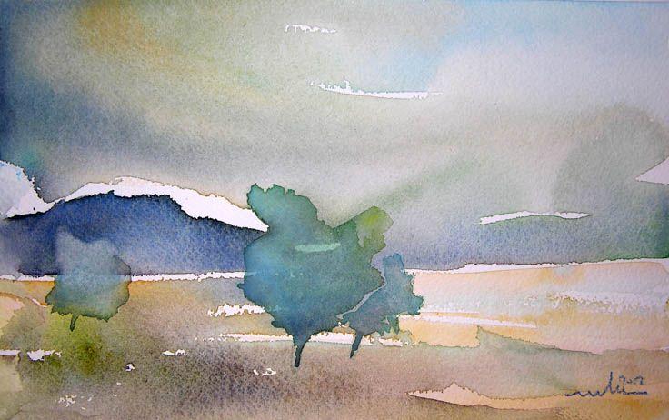 Au Petit Matin Paysage Aquarelle Aquarelle Peinture De Paysage