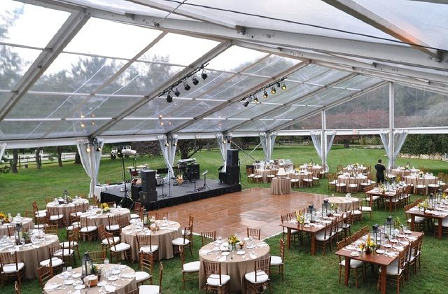 Dance Floor On Grass Under Clear Top Tent The Boyer