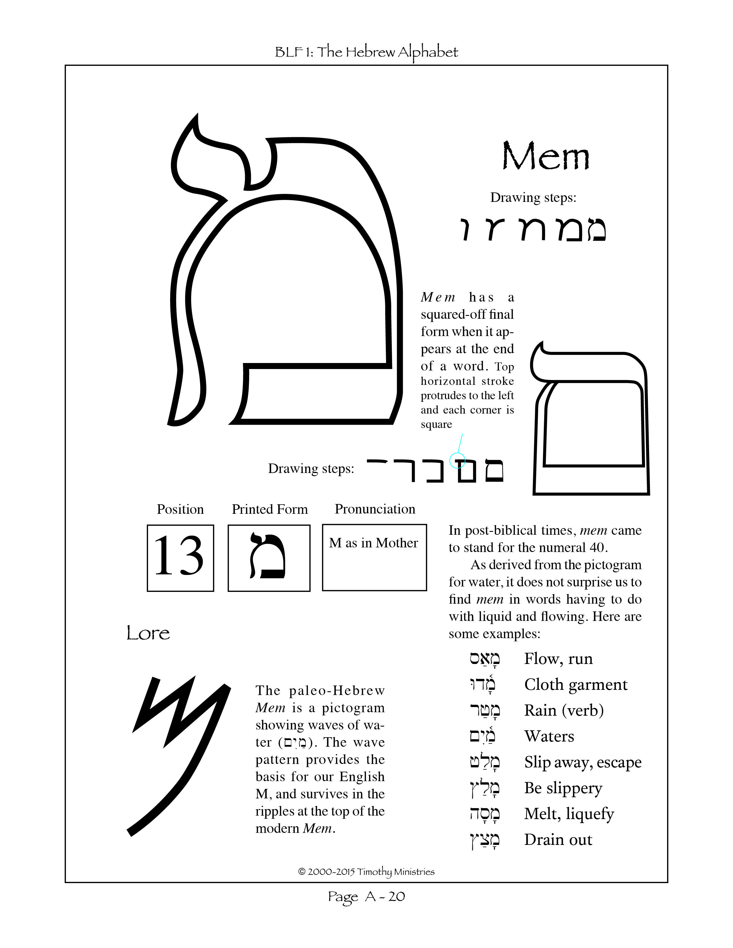 The Thirteenth Letter Of The Hebrew Alphabet Hebrew Letters Hebrew Lessons Hebrew Alphabet