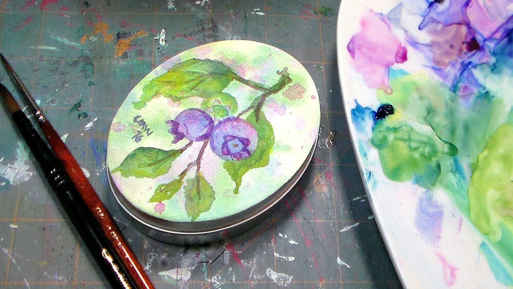 How To Paint On A Tin With Watercolors Watercolour Tutorials