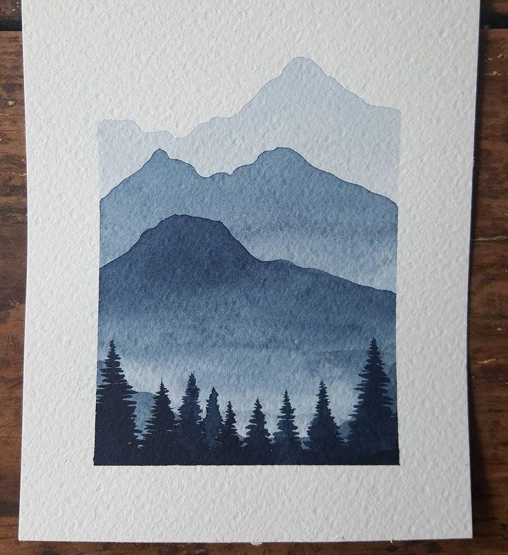 """Sarah Hernandez on Instagram: """"more practice with watercolors. This is one of my favorite colors that I have. In my opinion it works so well for this mountain scenes.…"""" #leinwandideen"""