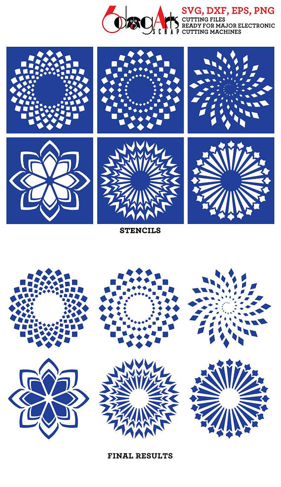 6 Digital Stencils Svg Dxf Cut Files Pattern Template Crafting