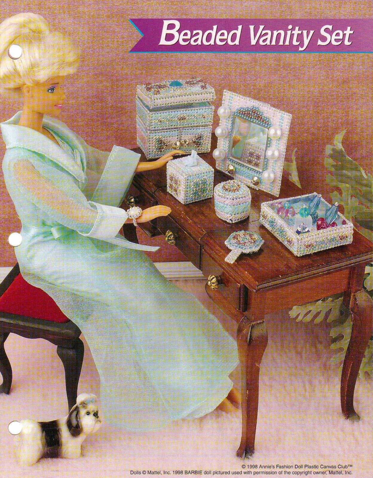 BEADED VANITY SET PLASTIC CANVAS PATTERN LEAFLET BY ANNIES FASHION DOLL RARE picclick.com