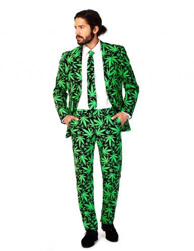 Costume Mr Cannaboss per uomo Opposuits™  grazie a questo abito Opposuits™  interamente decorato con foglie di marijuana...la trasgressione è lecita! 69f8fbb0219