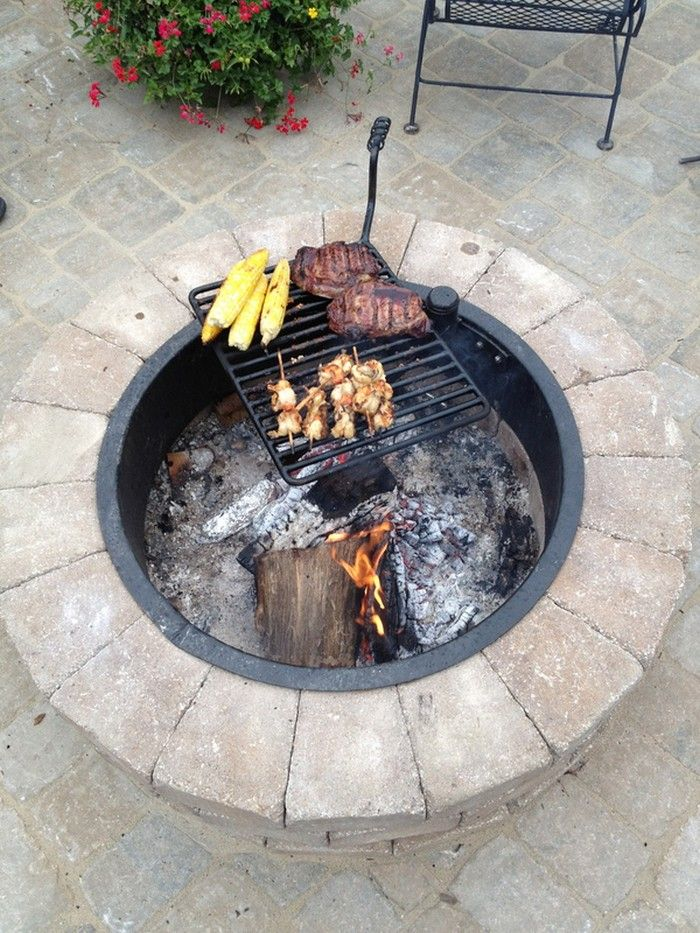Build A Fire Pit With Cooking Grill In Your Backyard Fire Pit Cooking Fire Pit Backyard Fire Pit Bbq