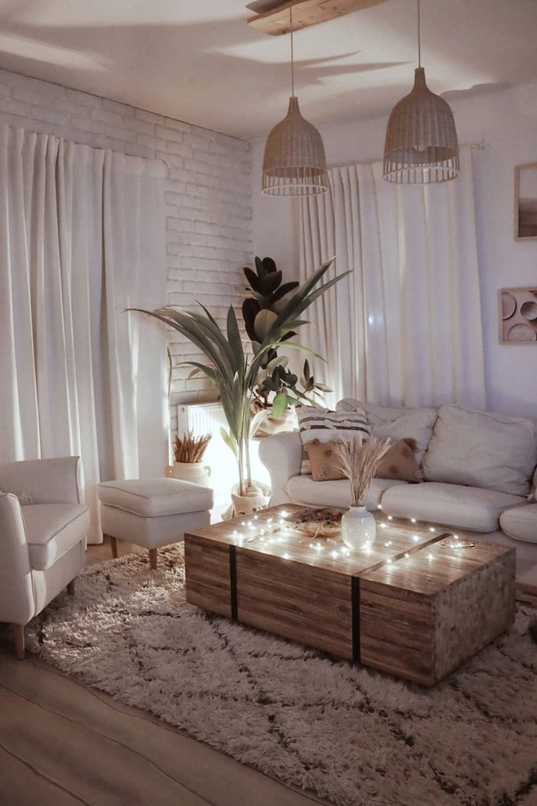 Solid Wooden Coffee Table - rustic living room idea - sitting area -   17 room decor Cute couch ideas