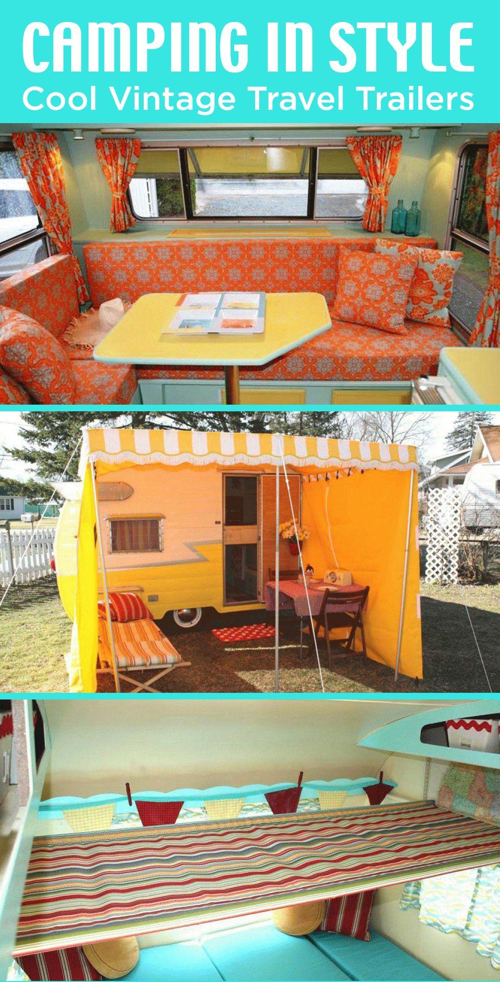 CAMPER DECORATING IDEAS: Enjoy camping in style—with a funky, vintage travel trailer, complete with retro-style kitchenettes, bathrooms and sleeping areas.