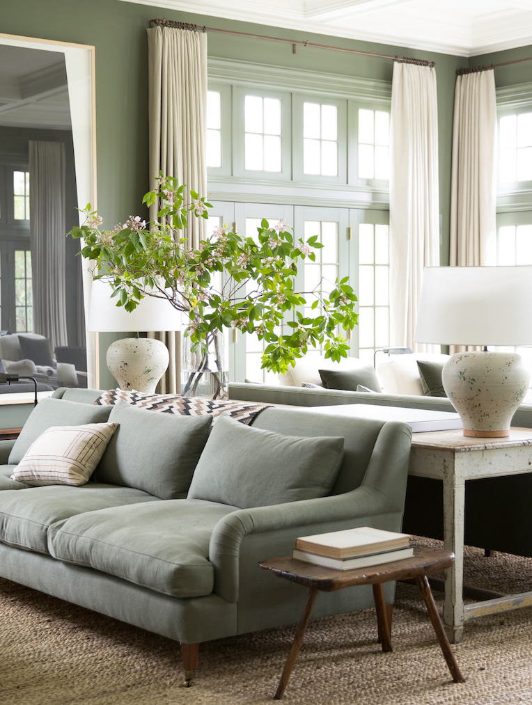 Elegant Formal Sitting Room With Cream Sage Green Natural Wood And Gold Decorative Accents Sage Green Living Room Living Room Green Glamorous Living Room