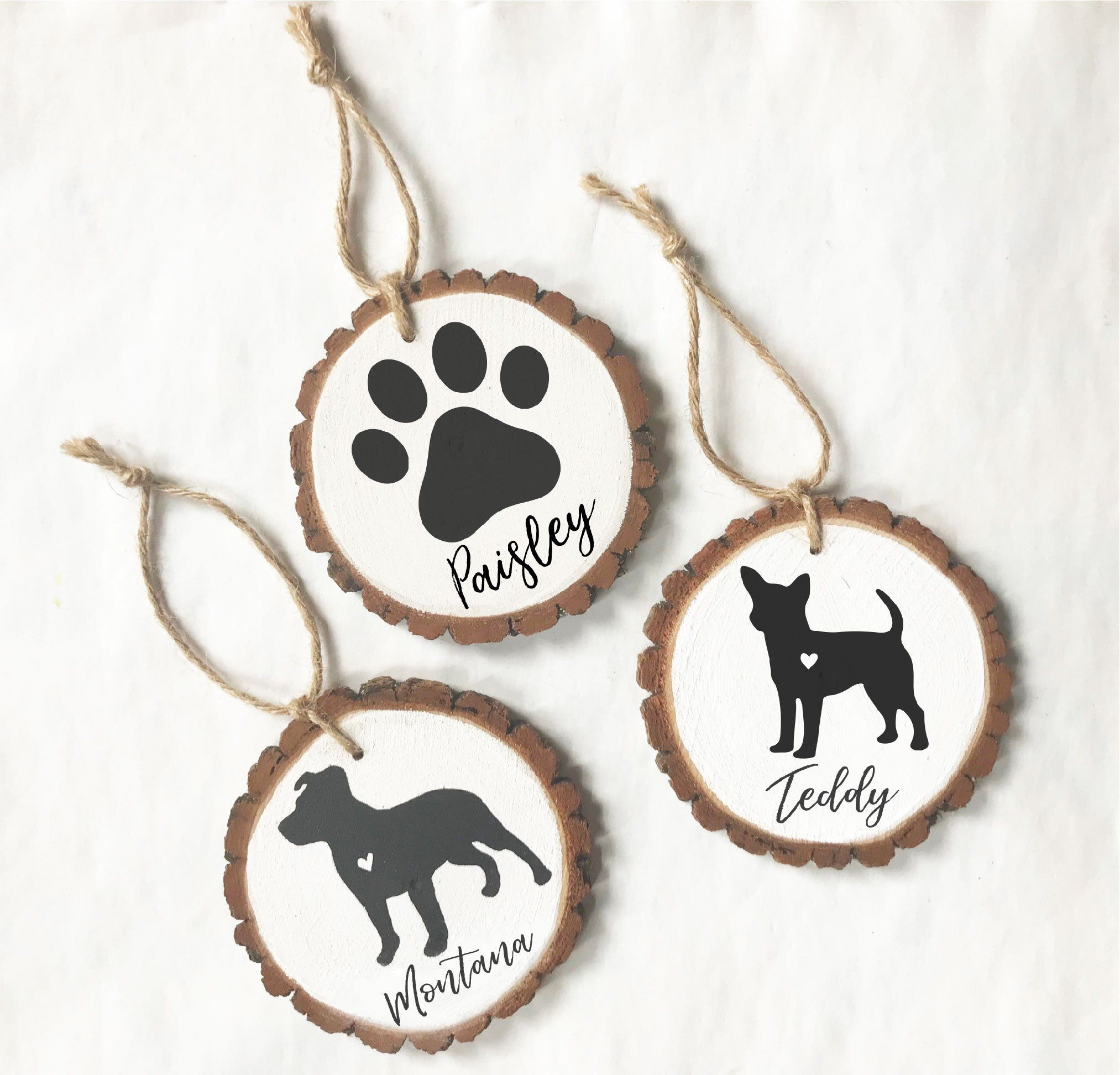 Personalized Pet Wood Slice Ornaments Hand Painted Wood Slice Ornament Wood Christmas Ornaments Handmade Christmas Ornaments