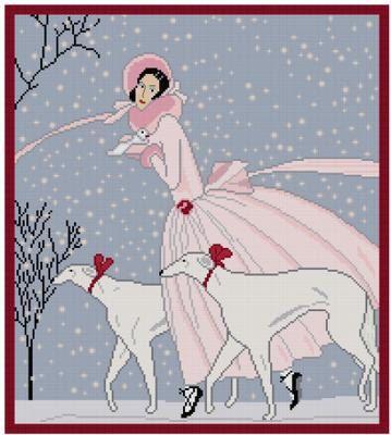 point de croix femme hiver neige avec lévriers - cross stitch winter lady with snow and whippets