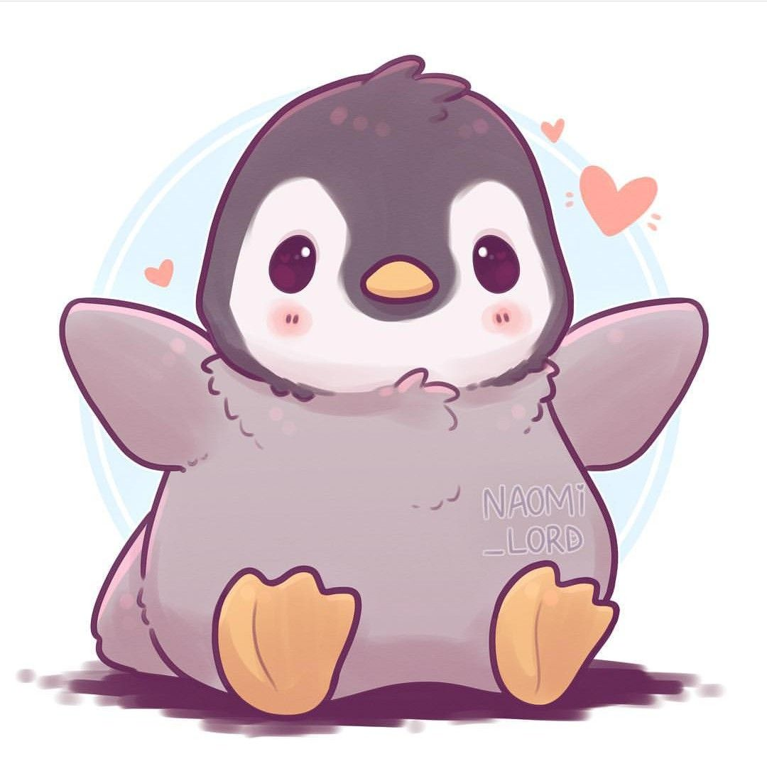 Little Fluffy Penguin Wants To Hug You Cute Kawaii Animals