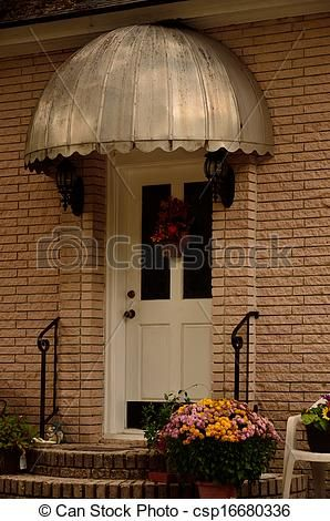 Stock Photos Of Retro Metal Door Canopy An Umbrella Like Dome Over Front Csp16680336 Search Stock Images Photo Metal Door Canopy Door Canopy Metal Door