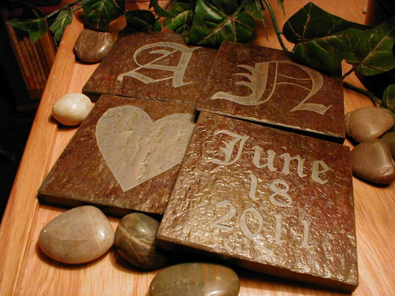 Wedding coasters set carved natural slate stone personalized anniversary drink coasters 29 - Slate drink coasters ...