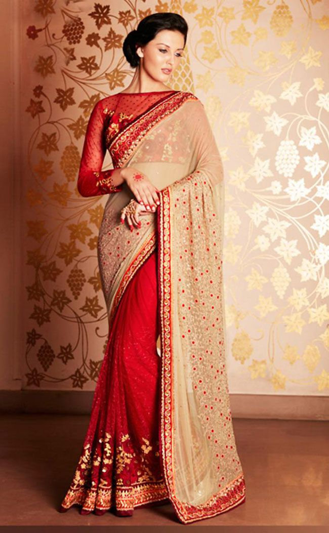 Red and Beige #Indian #Saree @ http://www.indiandesignershop.com/product/red-beige-indian-saree/