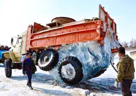This is what happens when the truck hauling a water has the water tank break open because... Baby, it's cold outside!
