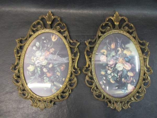 2 Vintage Metal Picture Frames- Made In Italy