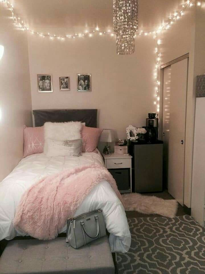 Pink Gray White Room Gjrly Dorm Room Decor Small Room Bedroom Room Decor