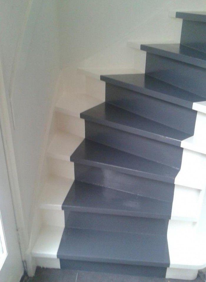 Traploper over de trap geschilderd trap pinterest traploper verf en muur - Geschilderde houten trap ...