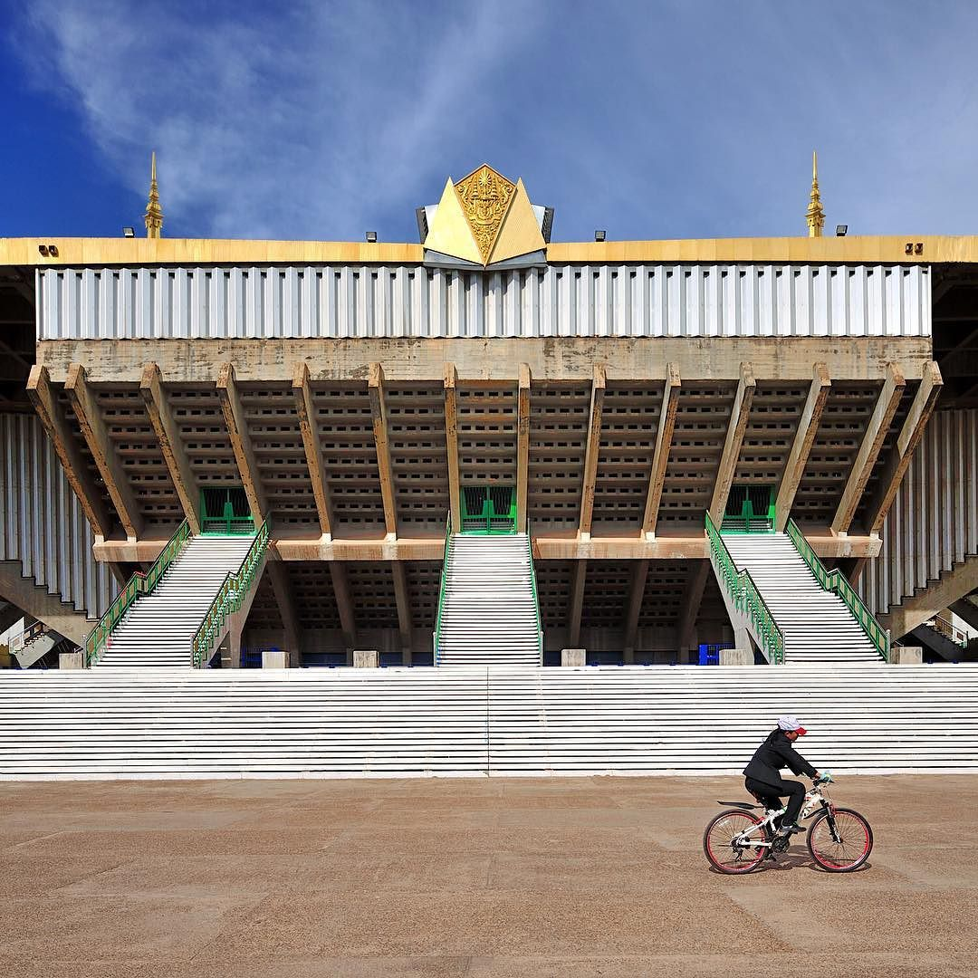 Visiting the National Sports Complex designed by Vann Molyvann classy no? #travel #Cambodia #architecture #southeastasia #tlpicks #realtravel