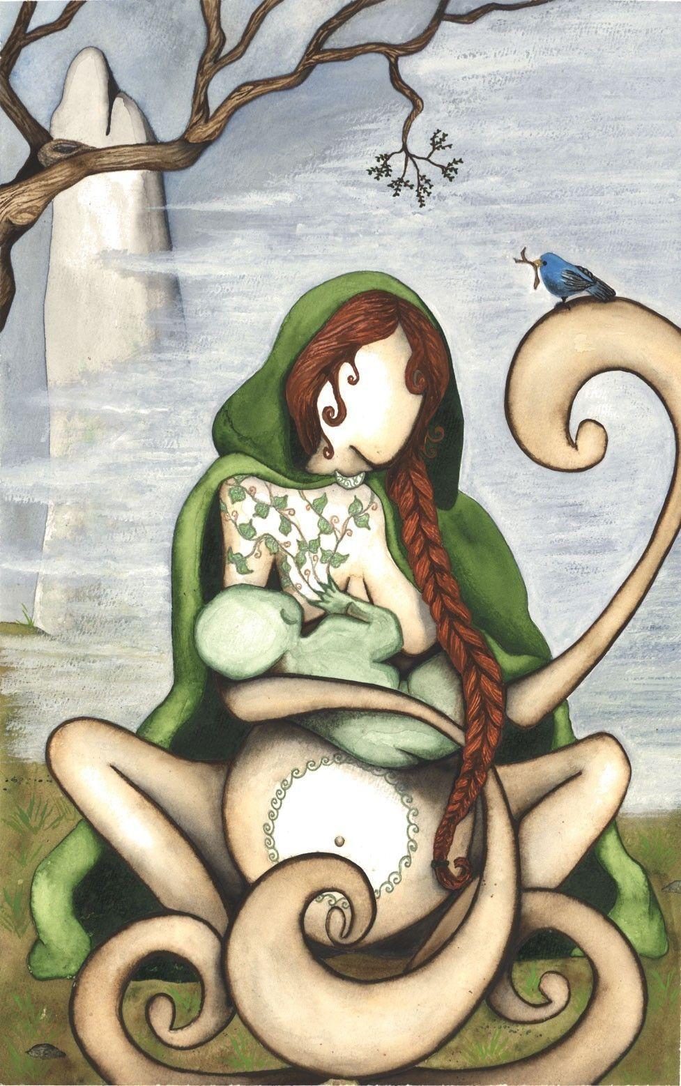 Danu ou Danann é uma Deusa Mãe da criação e fertilidade Céltica/Irlandesa. Ela está presente no panteão Irlandês, os Tuatha de Danann. (by Megan Welti on etsy)