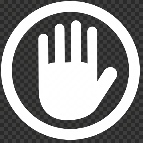 Hd White Round Hand Stop Icon Png Png Icon Transparent Background