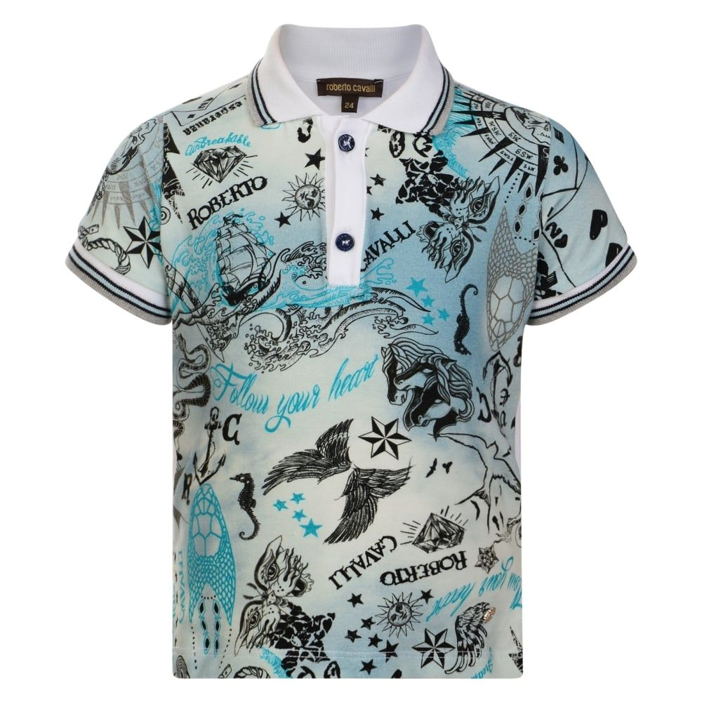 3ceed237ec39 Roberto Cavalli Junior Baby Boys Light Blue Washed Printed Polo Shirt with  White Back