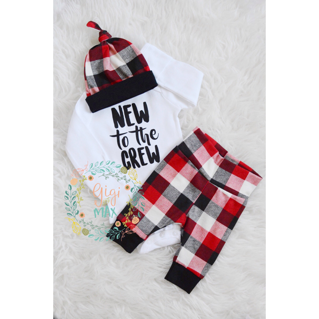 New To The Crew Buffalo Plaid Theme Newborn Outfit