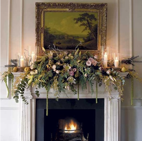 Elegant Different Christmas Mantel Decorated With