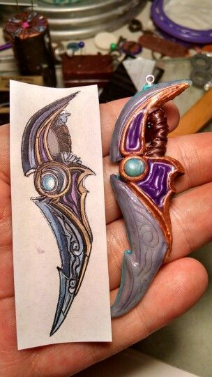 World of Warcraft weapon necklace reproduction in polymer clay