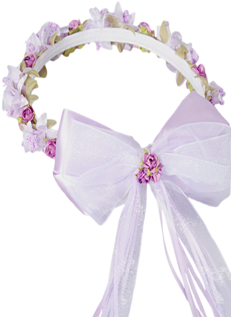 Lilac floral crown wreath handmade with silk flowers satin ribbons a beautiful lilac or lilac white floral crown wreath handmade to order with a variety of silk flowers and back satin organza ribbons bows izmirmasajfo