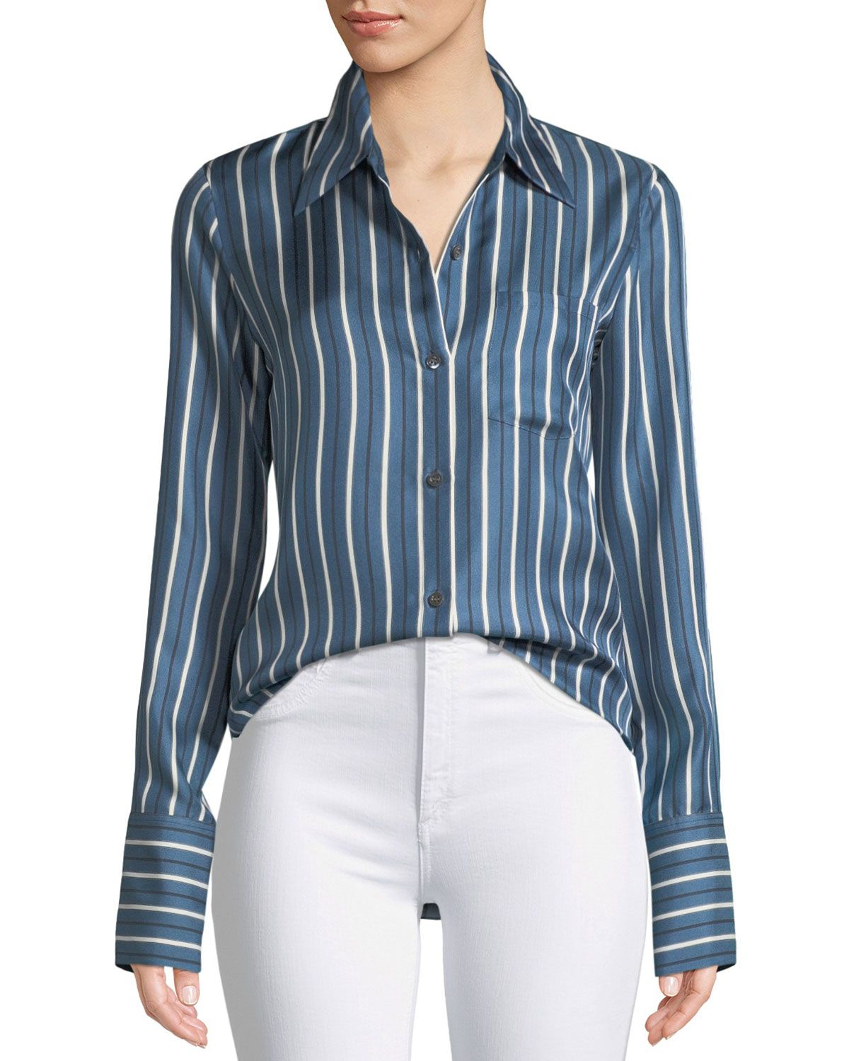 b495bb2c66d7e4 THEORY DARBY STRIPED SILK BUTTON-FRONT TOP. #theory #cloth ...