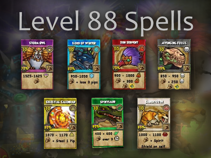 wizard 101 | Swordroll's Blog: Wizard101 Level 88 Spells Analysis