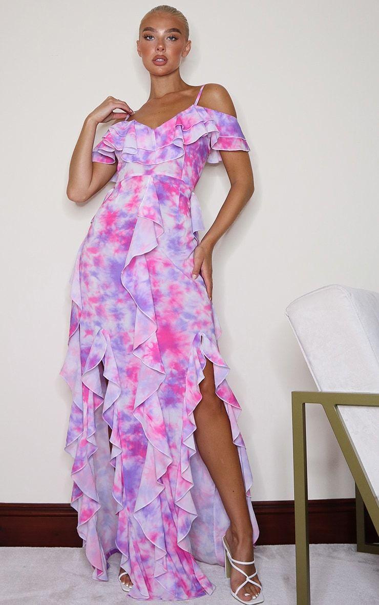 Pink Tie Dye Cold Shoulder Ruffle Detail Maxi Dress Dresses Maxi Dress Tie Dye Dress [ 1180 x 740 Pixel ]