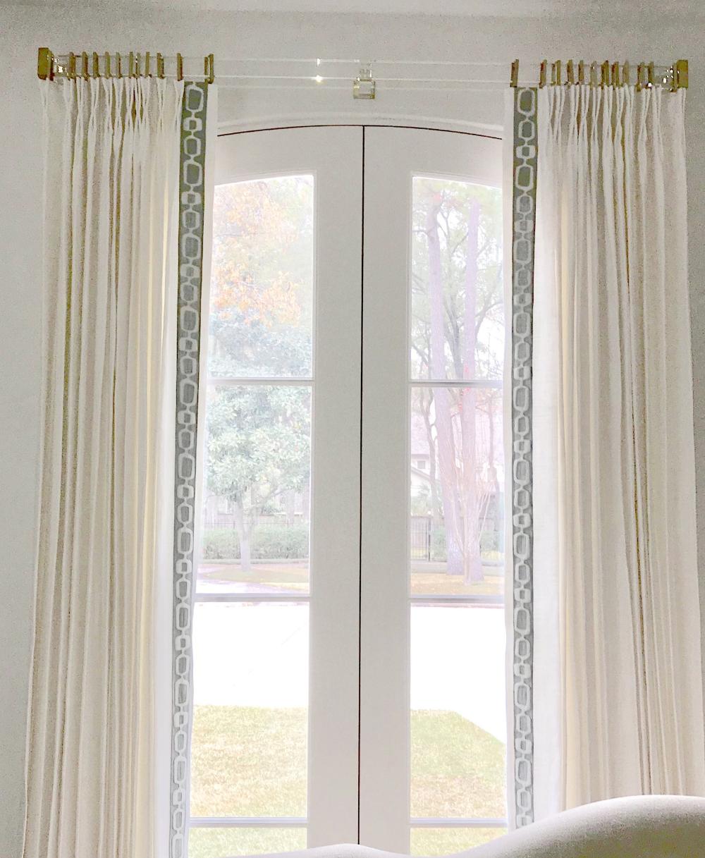 Greek Key Curtains Grey Trim Wide Trimmed Curtains White Linen