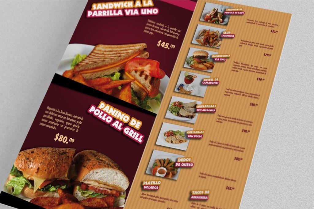Triptico para menu via uno auto hotel hecho por la agencia for Disenos de menus para restaurantes