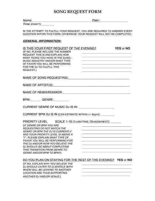 Dj Request Form  Dj    Dj