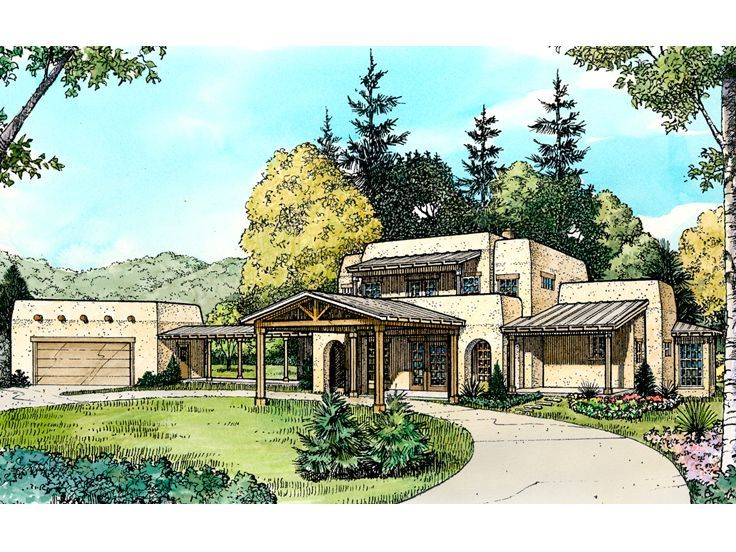 008h 0019 Two Story Adobe House Plan With Detached Garage Southwest House Adobe House House Plans