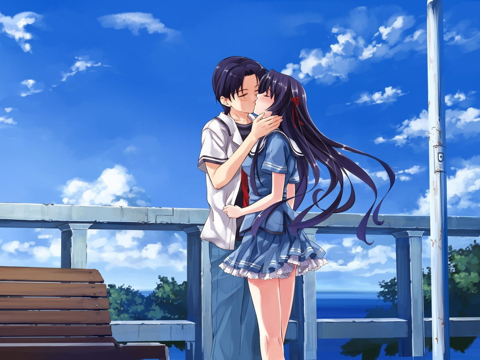 Download Wallpaper 1600x1200 Boy Girl Kiss Bench Sky Street 1600x1200 Hd Background Seni