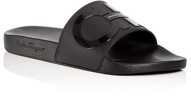 8601f561f Salvatore Ferragamo Men's Groove 2 Original Double Gancini Slide Sandals