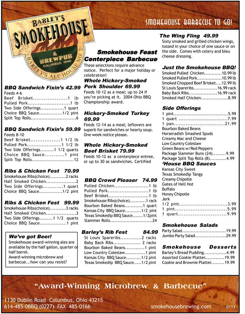 Smokehouse Restaurant Bulk Bbq Menu Recipes To Cook