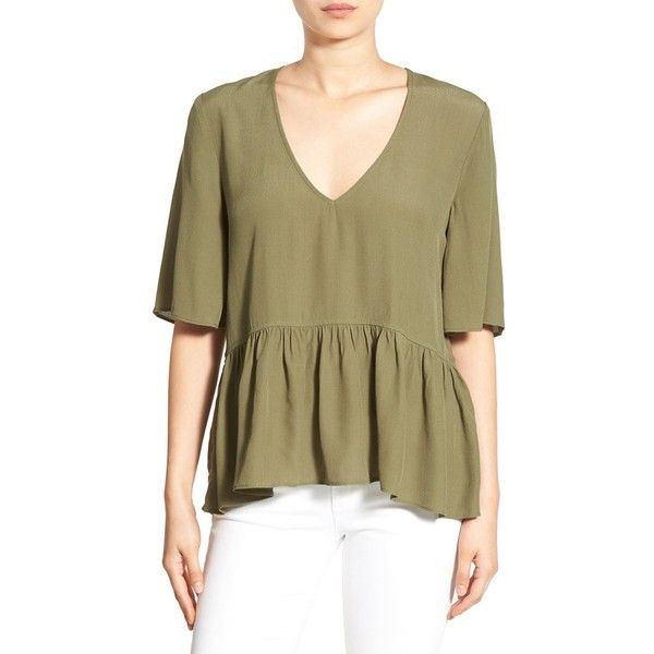3c18bcf18900 Women's Bp. V-Neck Peplum Tee ($38) ❤ liked on Polyvore featuring tops,  t-shirts, olive burnt, v-neck tee, ruffle top, peplum top, boxy tee and olive  green ...