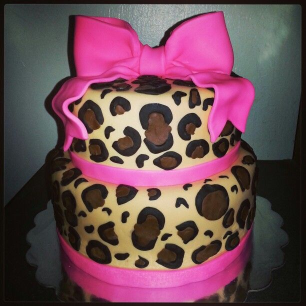 Cheetah Print Baby Shower Cake My Cakes Pinterest Shower