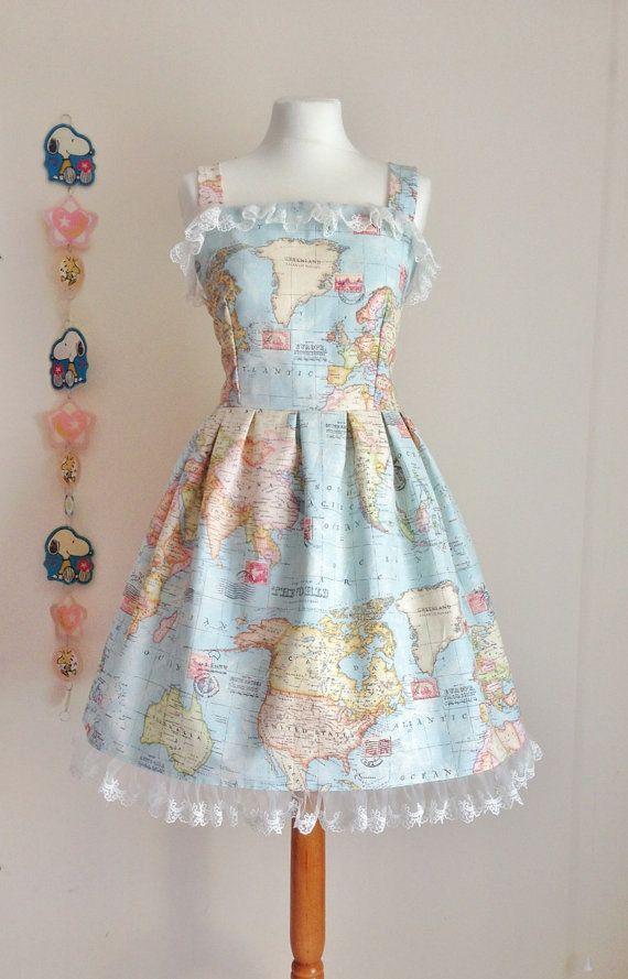 World map print lolita otome casual jsk jumperskirt dress tulle lace world map print steam punk lolita otome casual jsk by basiclove 8000 gumiabroncs Gallery
